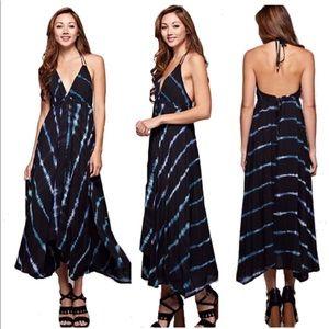 Love Stitch Tie Backless Maxi Dress